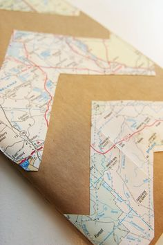 sewn on journal decoration - maps and chevron