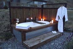 Super simple outdoor bath.