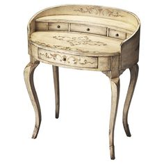 Add elegant appeal to your home library or living room with this lovely poplar wood writing desk, showcasing cabriole legs, a curved silhouette, and scrolling details. Painted Furniture, Home Furniture, French Furniture, Wood Writing Desk, Vanity Stool, Joss And Main, Decor Styles, Shabby Chic, Interior Design