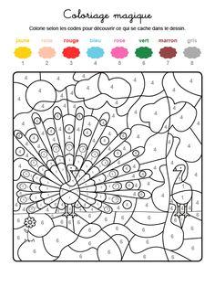 Dibujo mágico para colorear en francés de un pavo real