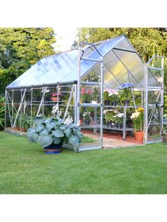 8' x 12' Hobby Grower Greenhouse has Double-Wall Glazing on Top, Crystal-Clear Sides
