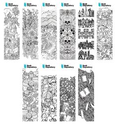 Book Depository Colouring Bookmarks designed by customers, October 2016