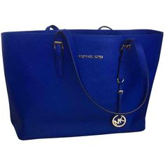 Pre-owned Michael Kors Leather Shopping Bag ($319) ❤ liked on Polyvore featuring bags, handbags, tote bags, blue, women bags handbags, michael kors handbags, leather travel tote, handbags totes, blue leather tote and michael kors tote bag