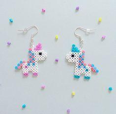 Bubblegum Unicorn Hama Bead Earrings by GeekGirlWorkshop on Etsy