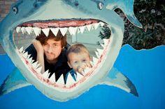 Make a cardboard shark photo-op for your next summer party! #sharks