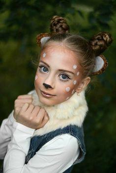 Cute Halloween Costumes, Halloween Make Up, Halloween Face, Deer Face Paint, Kids Makeup, Makeup Ideas, Deer Makeup, Deer Costume, Crazy Hair Days