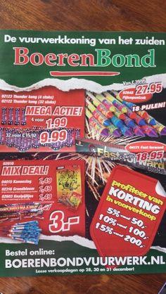 Boerenbond: de brochure speelt sterk in op het feit dat ze vuurwerk verkopen. De Kerst wordt praktisch overgeslagen. De brochure zelf bestaat uit de huisstijlkleuren en prijzen.