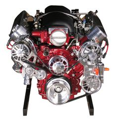 LS3 Engine with 4L80E Transmission - 480 HP - Deep Red Paint - spsengines.com