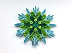 Snowflake Green Blue Quilled Handmade Art Paper Quilling