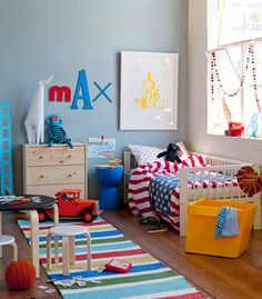 Mix and Chic: Double duty kids' rooms inspirations!  Love the assorted letters spelling out his name