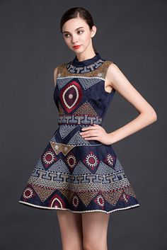 Navy Blue Embroidered Dress – Lily & Co.