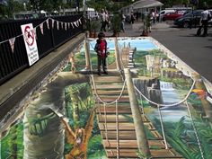 3D sidewalk chalk art.  how is this even possible?