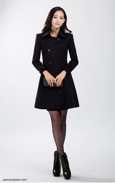 Wool Blend Military Peacoat