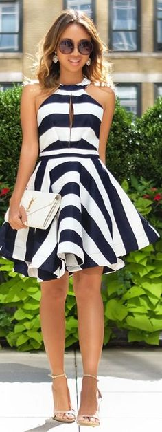 Lace & Locks Black And White Stripe Fit And Flare Dress Fall Inspo
