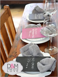 Mini menu napkin rings - chalkboard. By D&M made with love