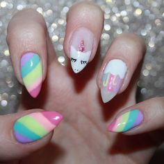 Many people have a passion for unicorn nails. And Unicorn nails are becoming a unique trend. If you think you have a different opinion, you should take a closer look at this list of Unicorn nail designs right away. We are convinced that even those w Unicorn Nails Designs, Unicorn Nail Art, Diy Nail Designs, Simple Nail Designs, Crazy Nail Designs, Trendy Nails, Cute Nails, Gel Nails, Manicure