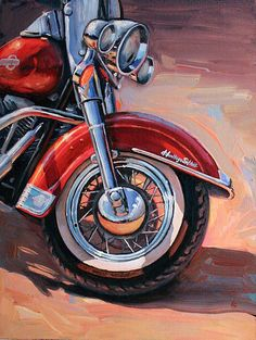 63 Ideas For Motorcycle Art Painting Harley Davidson Motorcycle Art, Bike Art, David Mann Art, Harley Davidson Art, Cycling Art, Cycling Quotes, Diy Painting, Watercolor Painting, Canvas Art