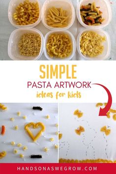 Super easy ideas for a pasta art activity with toddler and preschoolers at home using household supplies and some glue! Outdoor Activities For Kids, Art Activities, Toddler Activities, Preschool Arts And Crafts, Fun Crafts, Craft Projects For Kids, Clay Projects, Painting For Kids, Art For Kids