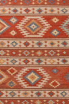 Dash & Albert kilim rug (actually more tan & cinnamon than bright red)