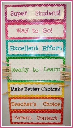 Behavior Charts Miss Kindergarten: classroom ideas school-ideas Classroom Behavior Management, Classroom Jobs, Behaviour Management, Behaviour Chart, Future Classroom, Classroom Organization, Student Behavior, Stoplight Behavior, Classroom Behaviour