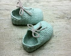 OLAF, Blue Cotton Baby Booties, Crochet Baby Shoes, with Gray Shoelace, Baby Slippers, Sizes 0-3, 3-6,6-9 months, Made to Order