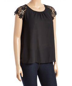 Look at this #zulilyfind! Black Lace-Sleeve Hi-Low Top - Plus #zulilyfinds