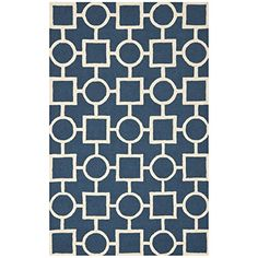 Safavieh Cambridge Collection CAM143G Handmade Navy Blue and Ivory Wool Area Rug, 8 feet by 10 feet (8′ x 10′)