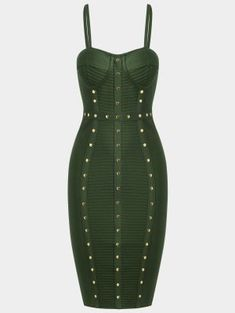 Embellished Cami Bandage Dress - Army Green L