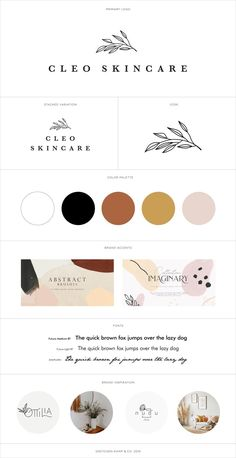 Pretty feminine modern sleek branding brand board logo design for a Skincare Company, designed by Branding Specialist, Gretchen Kamp in San Diego, California. Features a hand drawn leaf botanical illustration. To see the rest of this branding project, visit www.gretchenkamp.com/cleo-skincare