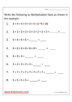 Second Grade Multiplication Facts