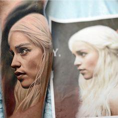 http://tattooideas247.com/khaleesi-tattoo/ Khaleesi Tattoo #DaenerysTargaryen, #GameOfThrones, #Khaleesi, #NikkoHurtado, #Portrait, #Realistic, #Series, #Tv