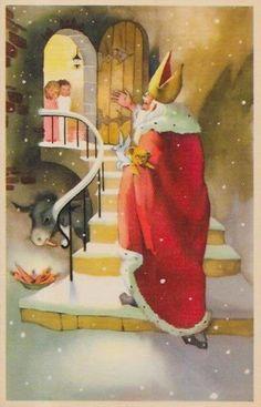 "CPA Saint Nicolas Nicolaas Nikolo non circulé ane "" Christmas Images, Christmas And New Year, Vintage Christmas, Christmas Diy, Vive Le Vent, Theme Noel, Vintage Santas, Yule, Scandinavian"