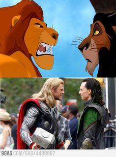 Mufasa + Scar = Thor + Loki
