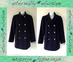 VTG JAMES MEADE CASHMERE Navy Military Car Pea Coat Jacket Womens Ladies Size 12   10.50