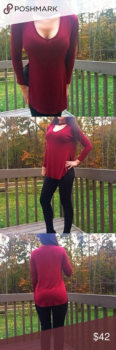 """Choker LS Top in Crimson Red NWOT ❤️ Absolutely gorgeous top! Beautiful red/wine color! NWOT, Semi-loose/relaxed fit, long sleeve top. Cut out detail at the front with a choker look.. This top is made with high-quality jersey that is VERY soft, drapes well, and nice and stretchy! Fabric is 95% Rayon and 5% Spandex. I am modeling a Small and I am 5'4"""" 112 lbs 32D. Prices are firm unless bundled! NO TRADES! ❤️ Boutique Tops Tees - Long Sleeve"""