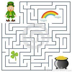 St Patricks Day Crafts For Kids, St Patrick's Day Crafts, Preschool Crafts, Mazes For Kids, Activities For Kids, San Patricks, Wedding Cross Stitch Patterns, Maze Puzzles, Maze Game