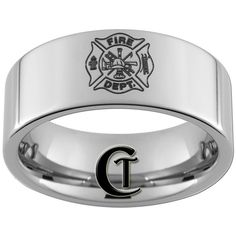 Tungsten Carbide Fireman Laser Design Ring by CustomTungsten Firefighter Family, Firefighter Paramedic, Firefighter Wedding, Firefighters Wife, Fire Dept, Fire Department, Tungsten Carbide, Fire Trucks, Ring Designs
