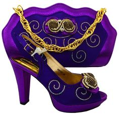 64.19$  Buy here - http://alidz7.worldwells.pw/go.php?t=32782666877 - Latest Purple Color Italian Matching Shoe and Bag Set African Wedding Shoe and Bag Sets Women Shoes and Bag To Match  MM1021 64.19$