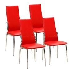 Cadeira Atlanta 4 Peças Vermelho - Interlink
