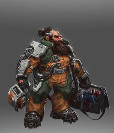 Dropzone Mech Pilot- Turbine by Kory Hubbell Character Concept, Character Art, Concept Art, Character Ideas, Space Fantasy, Sci Fi Fantasy, Aliens, Space Opera, Sci Fi Rpg