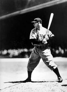 SEPT. 27, 1923:  Baseball player Lou Gehrig hit his first home run.   image:  Lou Gehrig at bat