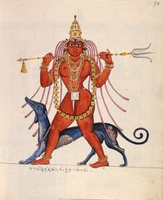 Śiva as Kala Bhairava, accompanied by his dog 'vahana', is depicted as an elegant, youthful figure. As befits a wandering ascetic, he is nude but for a loincloth, has flowing dreadlocks, wears a garland of skulls and carries a trishula (trident) across his shoulders. Company School, Thanjavur, 1830.