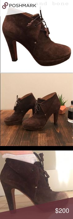"""Rag and Bone Lovell brown suede booties Rare Gorgeous Lovell bootie. Gently used condition. Some minor scratches on the the suede ( see pic) size 38 but they run small so best for size 7 or 7.5 U.S. Tasseled ties fasten a lofty suede bootie set atop a wrapped heel and platform. Approx. heel height: 4 1/2"""" with 3/4"""" platform. Lambskin suede and llama leather lace /calfskin leather lining/leather sole. Imported. Salon Shoes. Comes with original box rag & bone Shoes Ankle Boots & Booties"""