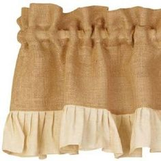 Country Primitive Cream Ruffled Burlap Valance Rustic Cottage Farmhouse Cabin