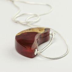 Grapefruit slice - wood and resin pendant