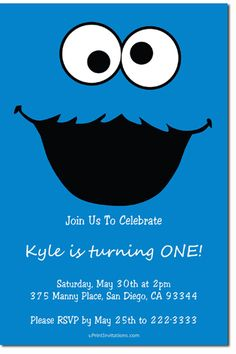 Sesame Street Cookie Monster Birthday Party Invitations - Get these invitations RIGHT NOW. Design yourself online, download and print IMMEDIATELY! Or choose my printing services. No software download is required. Free to try!