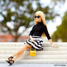 barbie sitting on steps
