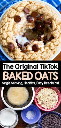 Banana Oatmeal Recipe, Baked Oatmeal Recipes, Baked Oats, Vegan Baked Oatmeal, Mug Recipes, Oats Recipes, Cooking Recipes, Blender Recipes, Copycat Recipes