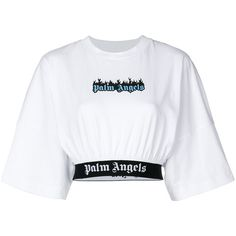 White cotton burning logo cropped T-shirt from Palm Angels Crop Top Outfits, Cute Casual Outfits, Edgy Outfits, Cropped Tops, Cute Crop Tops, Black Crop Tops, Teen Fashion Outfits, Nike Fashion, Jugend Mode Outfits