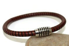 Leather bracelet  mens bracelet  round embossed by LuckyBeadsBox